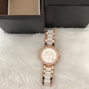 Michael Kors watch white and rose gold